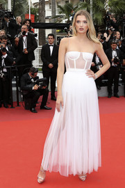 Lily Donaldson looked seductive in a sheer white corset dress by Christian Dior at the Cannes Film Festival screening of 'Loveless.'