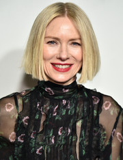 Naomi Watts sported a blunt, center-parted bob at the 2019 Tribeca Film Festival.