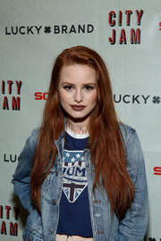 Madelaine Petsch wore her long tresses in a casual side-parted style at the 'City Jam with Brandy' event.