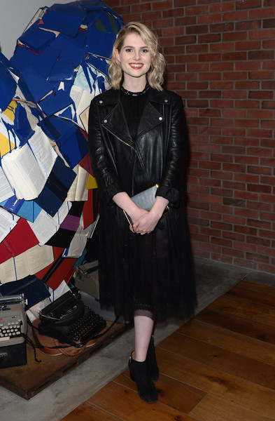 Lucy Boynton Box Clutch [weinstein company hosts the premiere of ``sing street,clothing,leather,fashion,footwear,outerwear,leather jacket,textile,riding boot,coat,style,lucy boynton,of sing street,new york city,the weinstein company,hotel indigo,party,party]