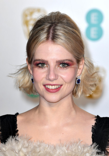 Lucy Boynton Dangling Gemstone Earrings [hair,face,hairstyle,eyebrow,blond,lip,beauty,chin,skin,eyelash,red carpet arrivals,lucy boynton,ee,london,england,royal albert hall,british academy film awards]