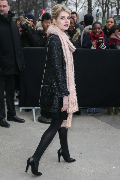Lucy Boynton Chain Strap Bag [haute couture spring summer,clothing,fashion,street fashion,fashion model,fur,tights,outerwear,dress,event,haute couture,lucy boynton,celebrity sightings,part,chanel haute couture spring summer 2017,paris,france,paris fashion week,show]