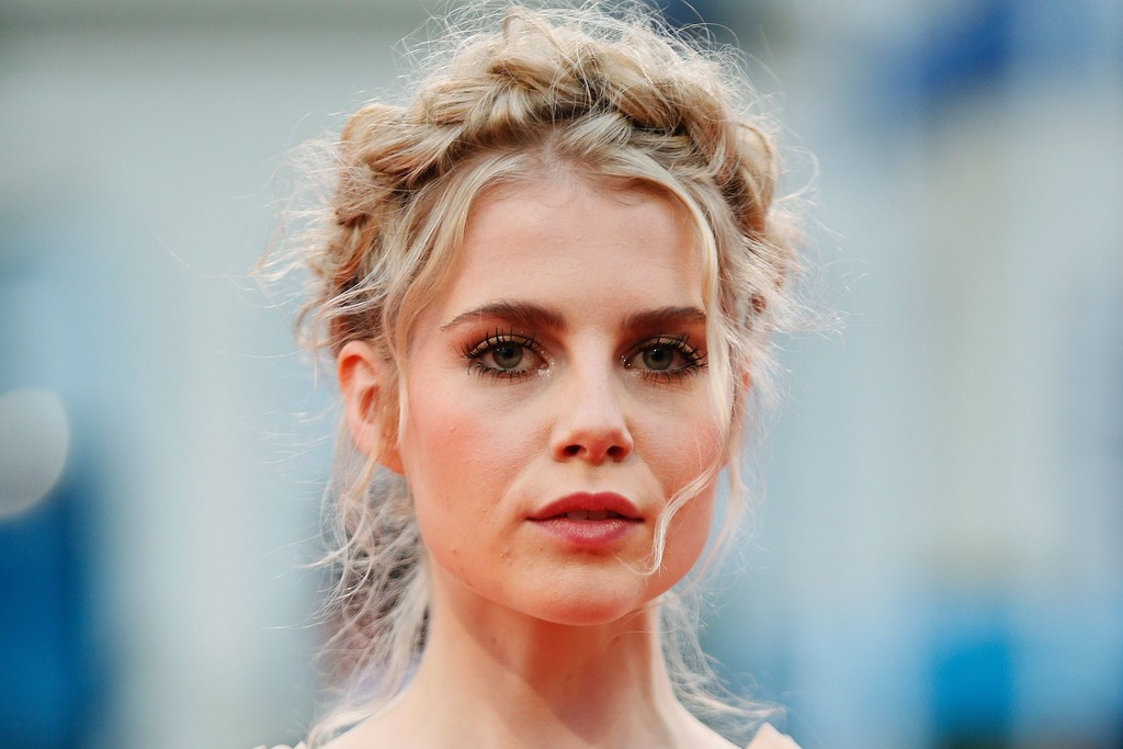 Lucy Boynton Braided Updo Hair Lookbook Stylebistro