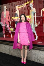 Lucy Hale looked so cute in a hot-pink tweed mini skirt and a matching top at the Katy Keene window unveiling at Saks Fifth Avenue.