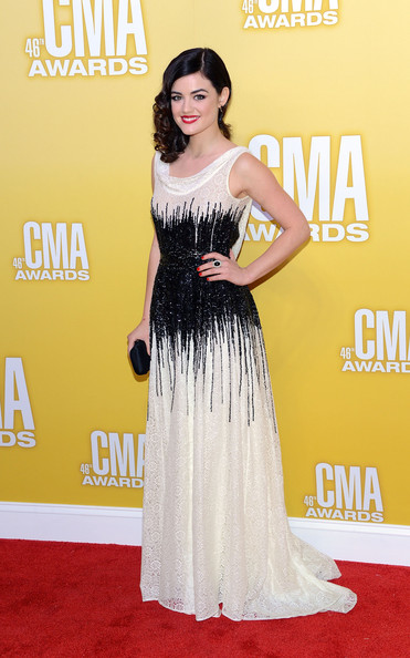 Lucy Hale Beaded Dress [flooring,carpet,gown,shoulder,red carpet,joint,dress,fashion model,cocktail dress,arrivals,lucy hale,singer,cma awards,carpet,celebrity,flooring,gown,shoulder,bridgestone arena,lucy hale,pretty little liars,46th annual country music association awards,bridgestone arena,country music association awards,red carpet,actor,51st annual country music association awards,celebrity]