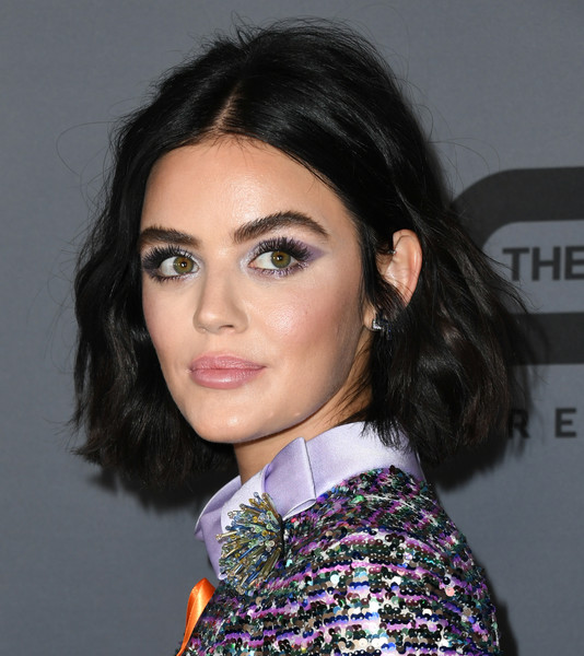 Lucy Hale Short Wavy Cut [hair,eyebrow,face,hairstyle,lip,black hair,beauty,chin,long hair,brown hair,summer tca all-star party - arrivals,lucy hale,beverly hills,california,the beverly hilton hotel,the cw,branded entertainment network,summer 2019 tca party]