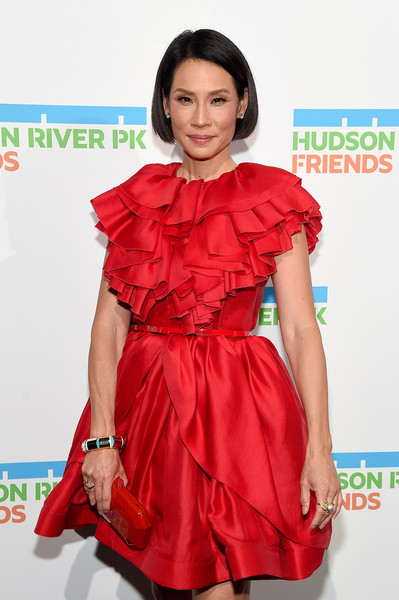 Lucy Liu Gold Bracelet [clothing,fashion model,red,dress,shoulder,hairstyle,fashion,skin,red carpet,cocktail dress,lucy liu,hudson river park annual gala - arrivals,new york city,cipriani south street,hudson river park annual gala]