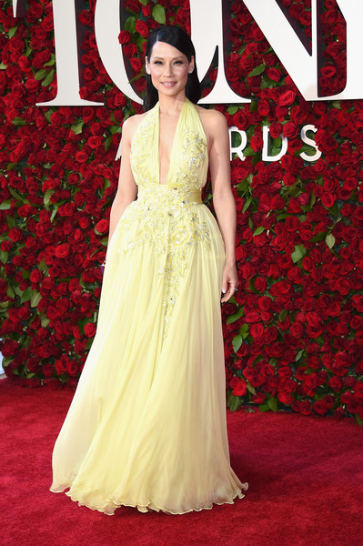 Lucy Liu Halter Dress [gown,flooring,dress,carpet,lady,red carpet,beauty,fashion,shoulder,fashion model,arrivals,lucy liu,tony awards,the beacon theatre,new york city]