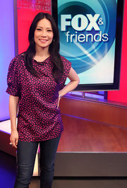 Lucy looked sweet in a star print top for her visit to Fox and Friends in NYC.