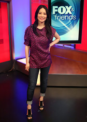 Lucy Liu paid a visit to 'Fox & Friends' in black platform T-bar sandals.