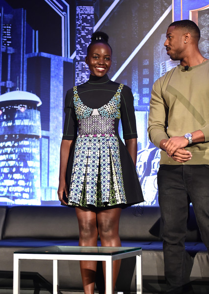 Lupita Nyong'o Embroidered Dress [fashion,fashion design,performance,event,talent show,dress,model,haute couture,lupita nyongo,michael b. jordan,beverly hills,california,marvel studios,l,montage beverly hills,black panther global junket press conference]