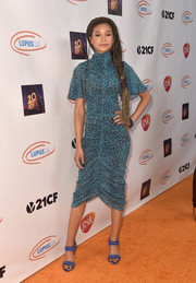 Storm Reid finished off her look with a pair of strappy blue heels.