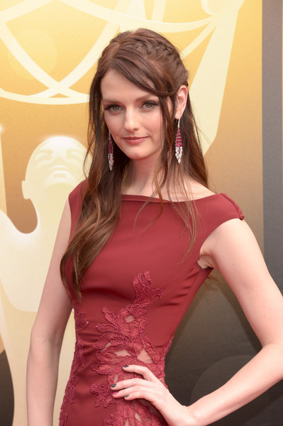 Lydia Hearst Dangling Gemstone Earrings [shoulder,clothing,beauty,pink,hairstyle,joint,dress,cocktail dress,arm,long hair,arrivals,lydia hearst,microsoft theater,los angeles,california,creative arts emmy awards]