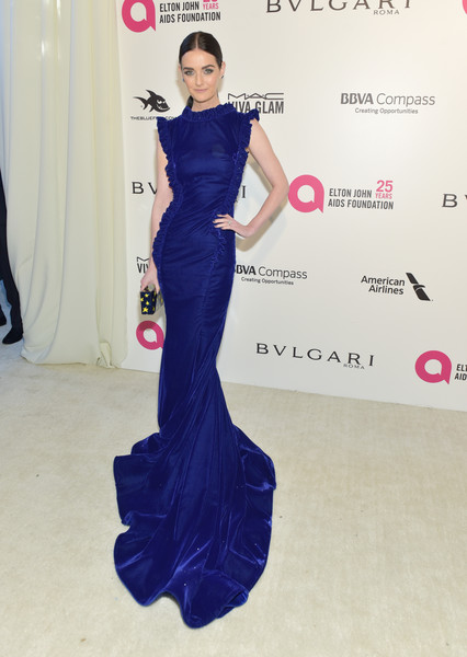 Lydia Hearst Fishtail Dress [flooring,shoulder,dress,fashion model,joint,carpet,gown,fashion,electric blue,leg,arrivals,lydia hearst,academy awards,west hollywood park,california,the city,elton john aids foundation,viewing party,academy awards viewing party]