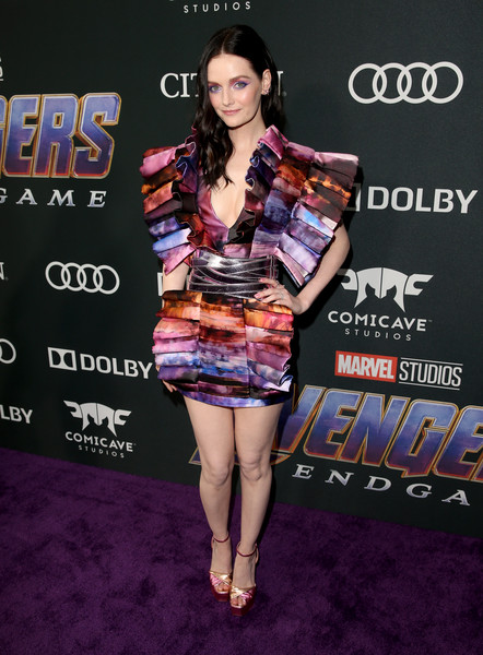 Lydia Hearst Print Dress [avengers: endgame,clothing,red carpet,carpet,fashion,leg,premiere,flooring,muscle,dress,event,lydia hearst,los angeles,california,los angeles convention center,los angeles world premiere of marvel studios,los angeles world premiere]