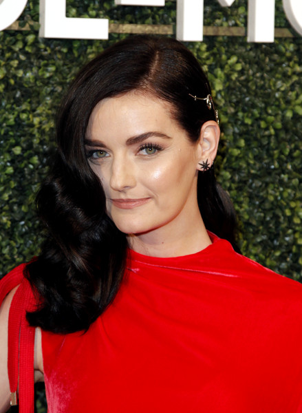 Lydia Hearst Long Curls [hair,hairstyle,face,eyebrow,beauty,chin,black hair,lip,forehead,brown hair,dress,arrivals,suzy amis cameron,maison-de-mode celebrates sustainable style,lydia hearst,style,maison-de-mode,sunset tower,red carpet,celebration]