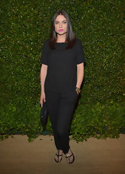 Jodi chose a pair of loose black slacks for her all-black look.
