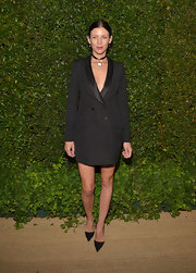 Liberty Ross chose a sleek menswear-inspired look with this tuxedo dress with satin lapels.