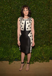 This black-and-white silk frock featuring geometric-print designs gave Jena Malone a fun and whimsical evening look.