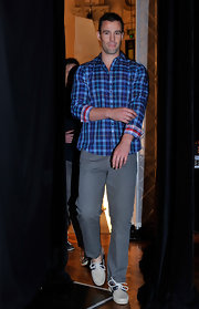 Kris Smith kept it casual in a blue plaid button-down shirt at the Myer Spring/Summer Fashion Launch show.