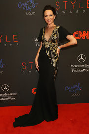 Janie Bryant exuded classic sophistication at the Style Awards in an embellished sheer-panel evening dress.