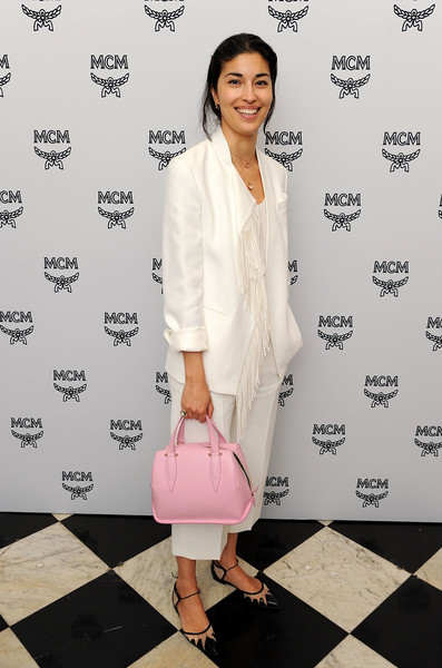 More Pics of Caroline Issa Leather Tote (1 of 1) - Tote Bags Lookbook - StyleBistro [clothing,white,pink,fashion,outerwear,footwear,dress,shoulder,blazer,formal wear,arrivals,christopher raeburn,caroline issa,london,england,grand connaught rooms,mcm,show]