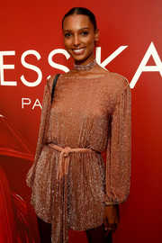 Jasmine Tookes sparkled in a beaded blush mini dress at the Messika party.