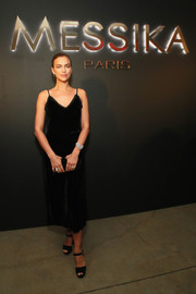 Irina Shayk kept it simple in a little black velvet dress at the Messika party.