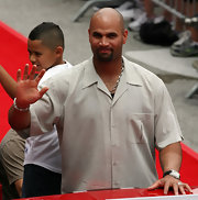 Albert Pujols wore a crisp nude button-down shirt to the MLB All-Star Red Carpet Parade.