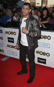 Amir Khan showcased a modern take on the bomber jacket at the 2009 MOBO Awards, donning one with a embossed silver finish.