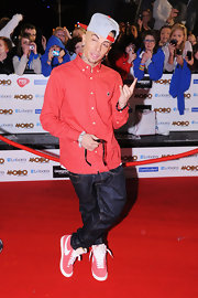 Dappy was zany as usual in his pin-dot red button-down.
