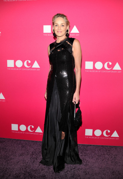 Sharon Stone donned a distressed-chic sequin gown for the 2017 MOCA Gala.