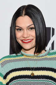 Jessie J swiped on some red-hot lipstick for a radiant beauty look.