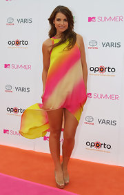 Vogue Williams looked very light and refreshing in a popsicle ombre colored ensemble at the MTV Austraila Summer Party.