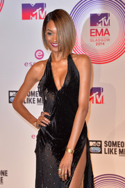 Jourdan Dunn accessorized her slinky gown with a thick gold bracelet and a ton of rings when she attended the MTV EMAs.