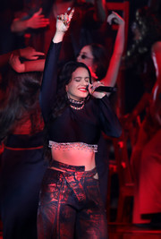Rosalia performed at the 2019 MTV EMAs wearing a black crop-top with silver charm details.