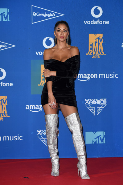 More Pics of Nicole Scherzinger Over the Knee Boots (1 of 7) - Nicole Scherzinger Lookbook - StyleBistro [clothing,carpet,joint,thigh,leg,electric blue,knee,footwear,shoulder,premiere,nicole scherzinger,room,winners room,seville,spain,exhibition centre,mtv,emas 2019,fibes conference]