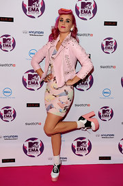 Katy Perry donned an eclectic ensemble at the MTV EMA's. She paired her look with athletic-inspired platform pumps.