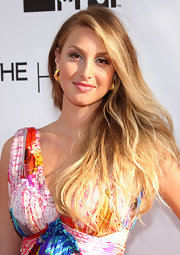 Whitney Port topped her stunning dress off with chunky gold hoop earrings while hitting the season finale of 'The Hills'.