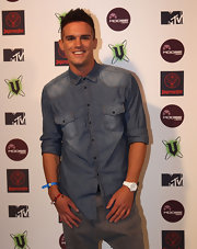 Gaz Beadle kept it casual at MTV Snow Jam with a washed-out denim shirt.