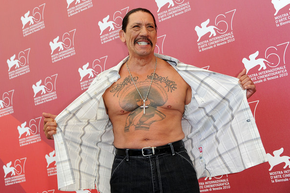Danny showed off his portrait tattoo on his chest.