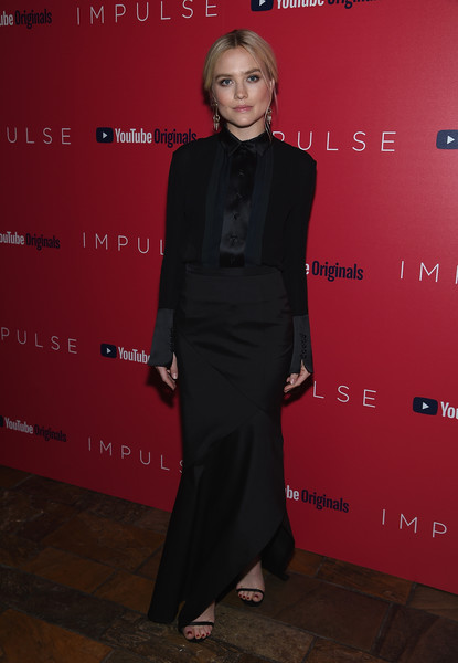 Maddie Hasson Tuxedo Top [series premiere,clothing,red,premiere,dress,fashion,formal wear,suit,carpet,red carpet,little black dress,impulse,maddie hasson,new york,the roxy cinema,new york series premiere]