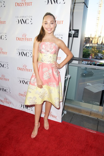 Maddie Ziegler Strapless Dress [red carpet,clothing,dress,carpet,shoulder,premiere,cocktail dress,yellow,fashion,hairstyle,maddie ziegler,california,los angeles,the novo,the dizzy feet foundation,microsoft,6th annual celebration of dance gala,maddie ziegler,dance moms,dance,camille le haut,reality television,actor,red carpet]