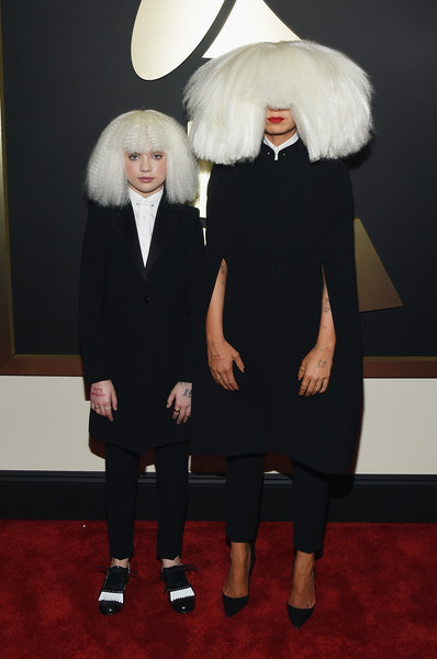 Maddie Ziegler Pantsuit [red carpet,fashion,carpet,fur,flooring,facial hair,red carpet,fur clothing,fictional character,costume,maddie ziegler,sia,california,los angeles,staples center,57th annual grammy awards,the 57th annual grammy awards]
