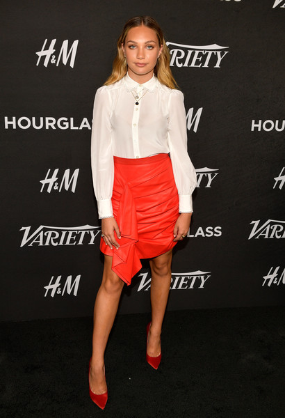 Maddie Ziegler Button Down Shirt [clothing,fashion,footwear,dress,cocktail dress,shoulder,waist,joint,crop top,premiere,maddie ziegler,annual power of young hollywood - arrivals,power,young hollywood,west hollywood,california,sunset tower hotel,variety]