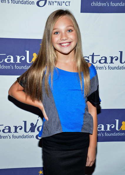 Maddie Ziegler T-Shirt [dance moms fan meet and greet benefiting starlight childrens foundation,dance moms,hair,shoulder,clothing,hairstyle,electric blue,blond,long hair,cobalt blue,joint,hair coloring,maddie ziegler,new york city,stoopher boots,starlight childrens foundation,meet]