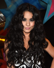 Vanessa Hudgens accentuated her eyes with silver shadow and heavy black liner.
