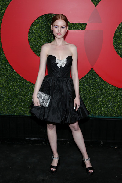 Madelaine Petsch Quilted Clutch [clothing,dress,cocktail dress,fashion,strapless dress,little black dress,formal wear,haute couture,flooring,fashion model,arrivals,madelaine petsch,beverly hills,california,benedict estate,gq men of the year party]