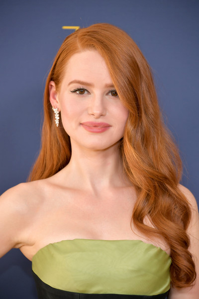 Madelaine Petsch Long Wavy Cut [hair,beauty,human hair color,blond,hairstyle,eyebrow,shoulder,fashion model,long hair,chin,arrivals,madelaine petsch,emmy awards,70th emmy awards,microsoft theater,los angeles,california]