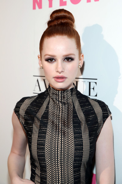 Madelaine Petsch Classic Bun [hair,face,hairstyle,lip,clothing,beauty,eyebrow,fashion,skin,forehead,madelaine petsch,nylon,los angeles,avenue los angeles,nylon young hollywood party,california,young hollywood party]